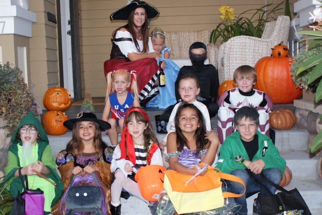 children in costume on Halloween