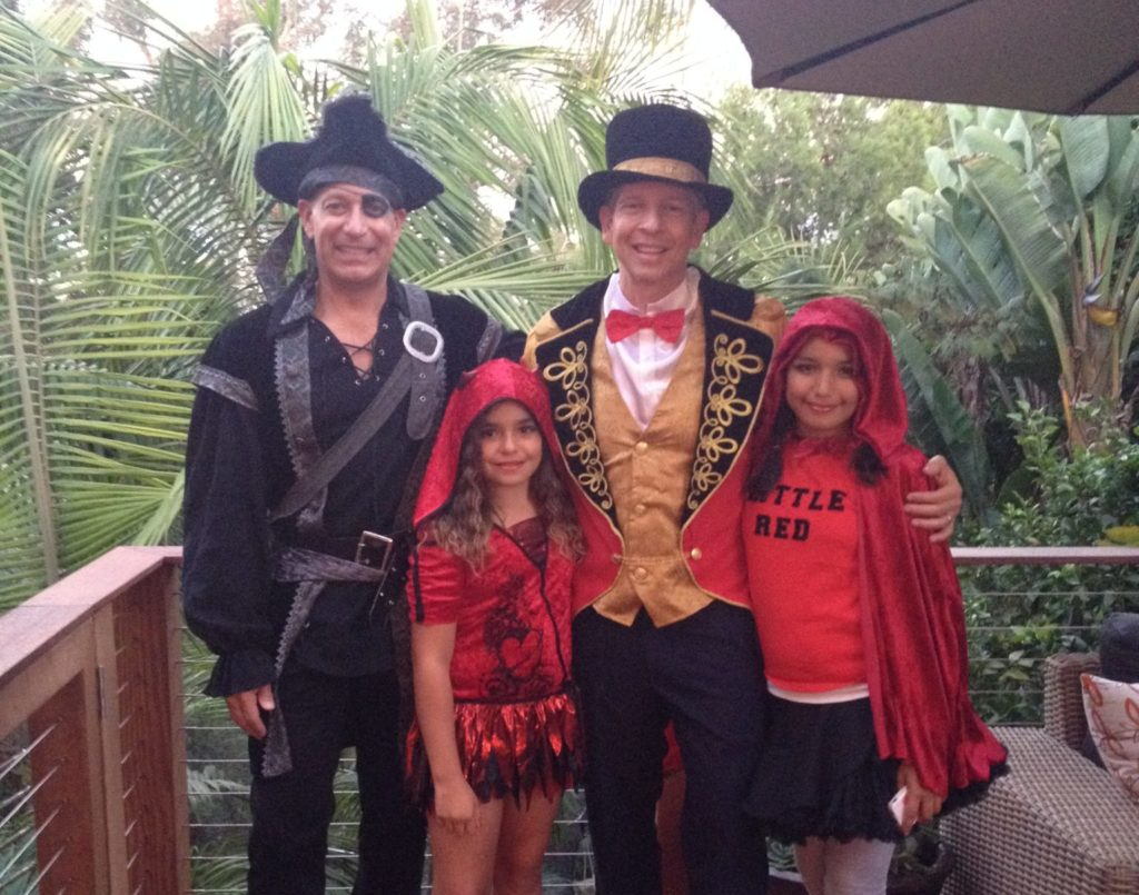 LGBT family with Halloween costumes