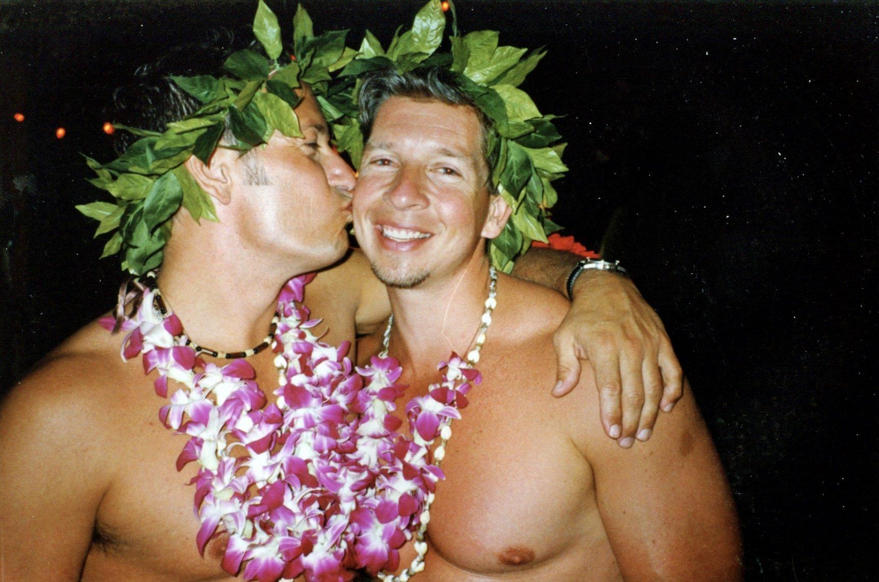 gay couple Hawaiian costumes