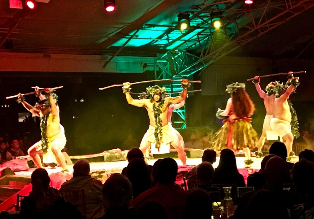 colorful hula dancing at Luau Kalamaku