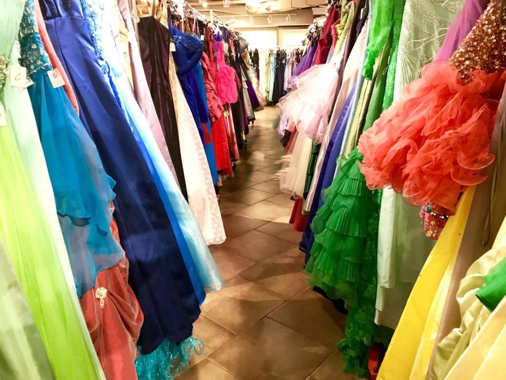 rainbow of prom dresses