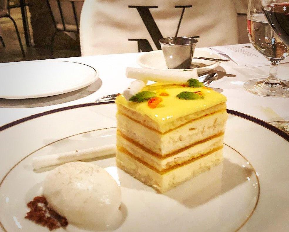 Delicious Lemon marscapone layer cake at V. Mertz in Omaha