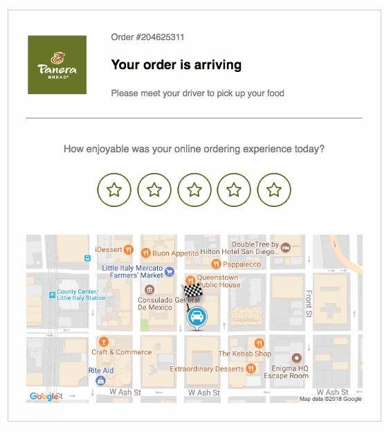 Panera Bakery text upon delivery