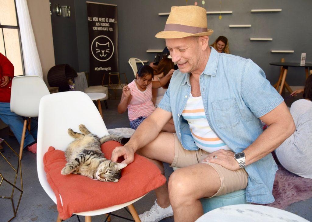 StitchFix Men at the Cat Therapy Cafe in Santa Barbara