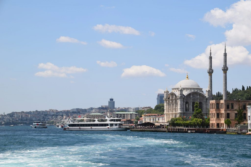 Dolmabahce Palace view from the Bosphorous Strait
