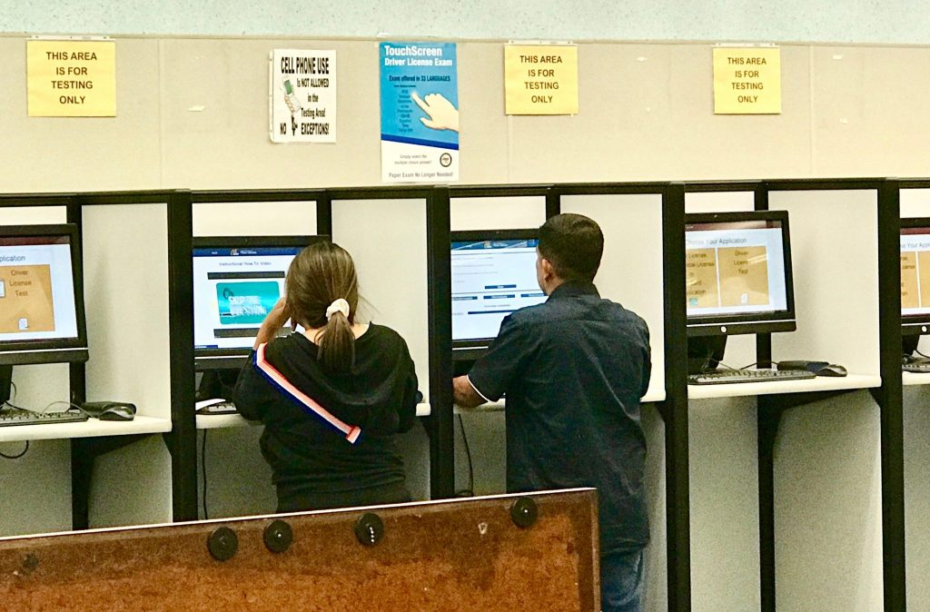 taking the drivers permit test
