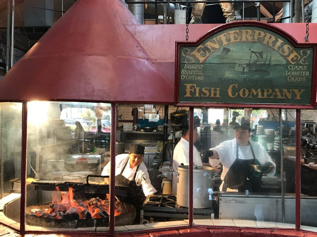 wood-fired grill at Enterprise Fish Co.