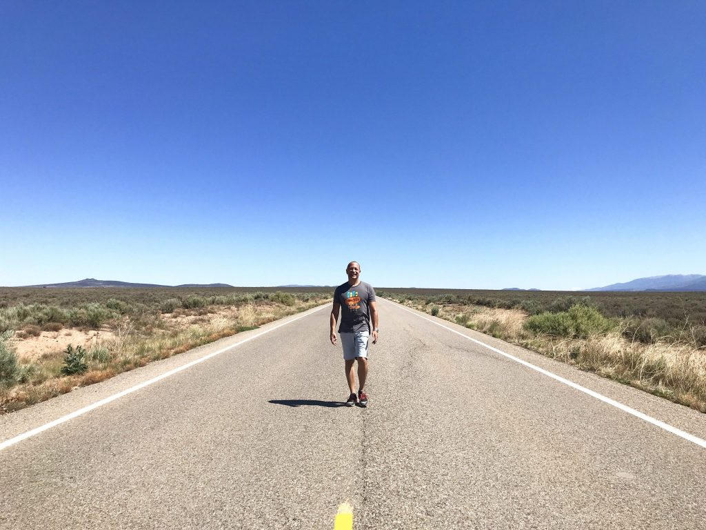 deserted road in Taos, New Mexico