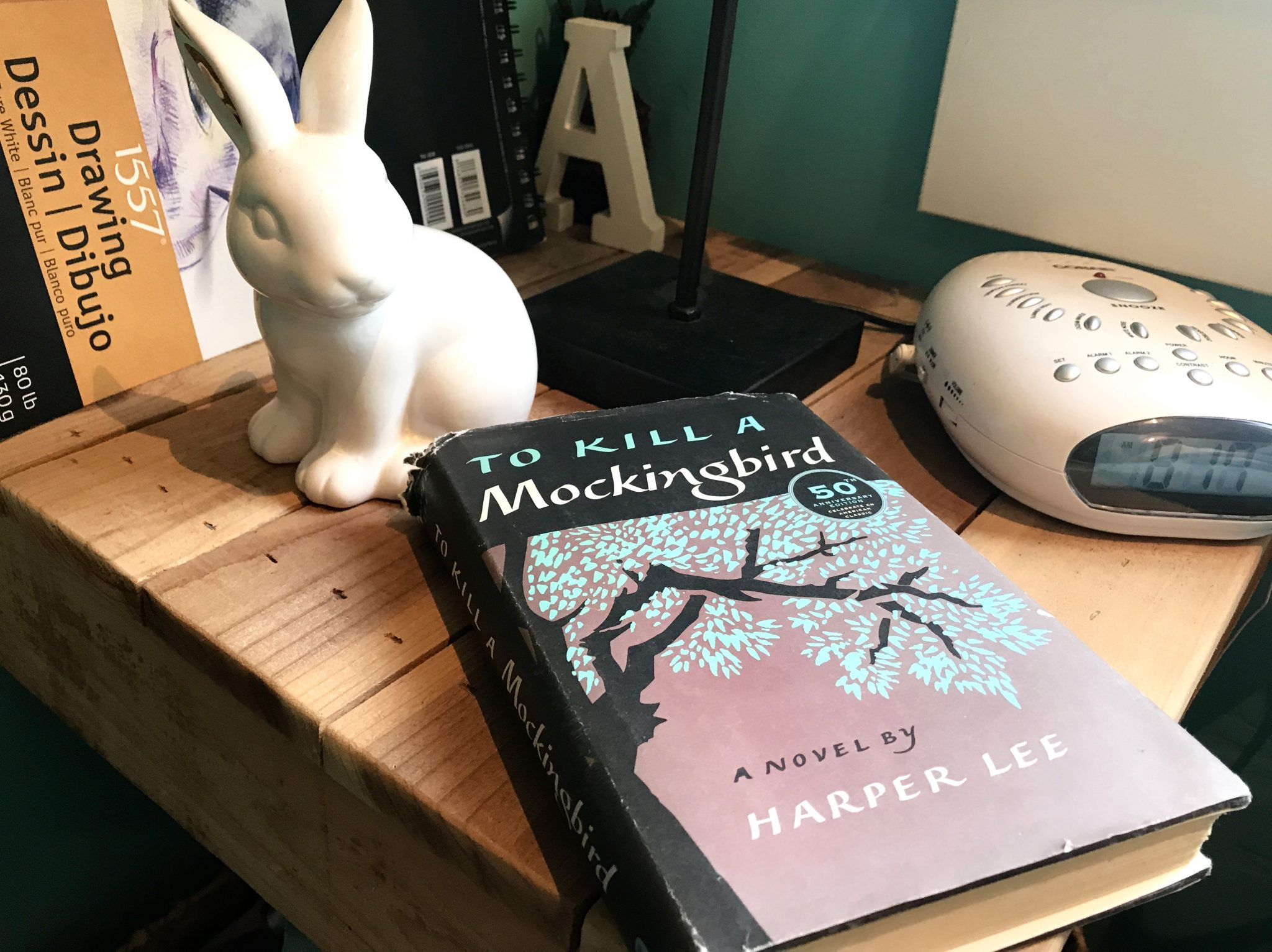 bedside table with To Kill a Mockingbird