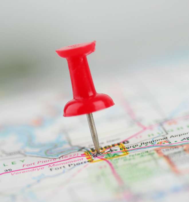 pin in a map for road trip planning