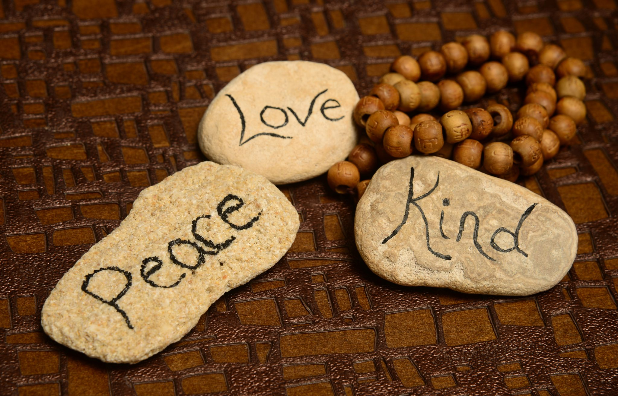 peace, love and kindness rocks