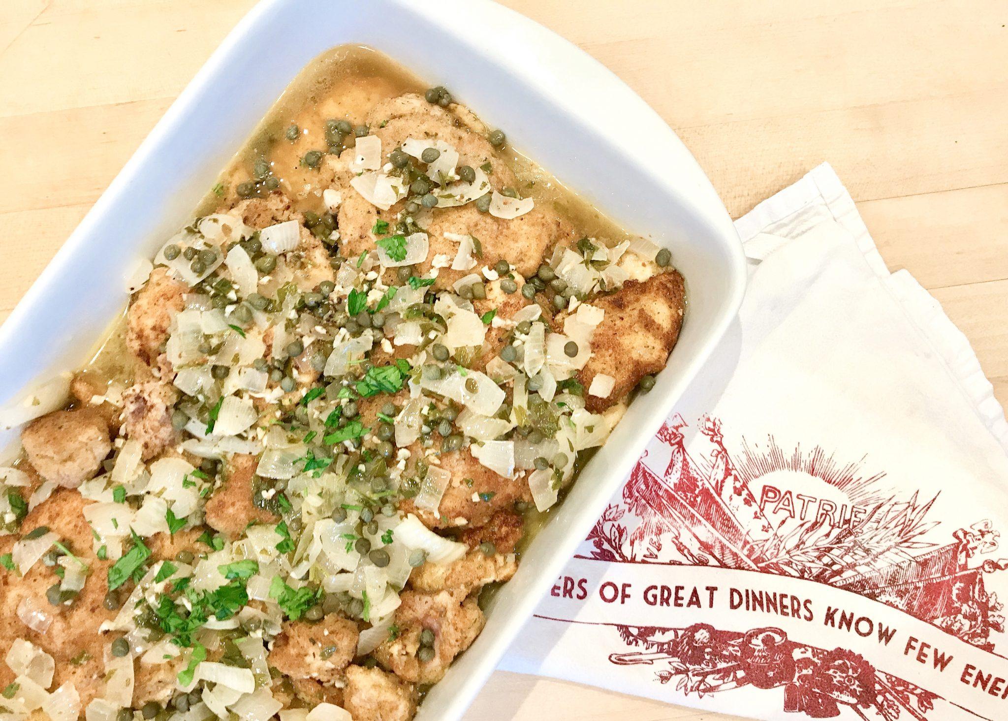 chicken piccata in baking dish