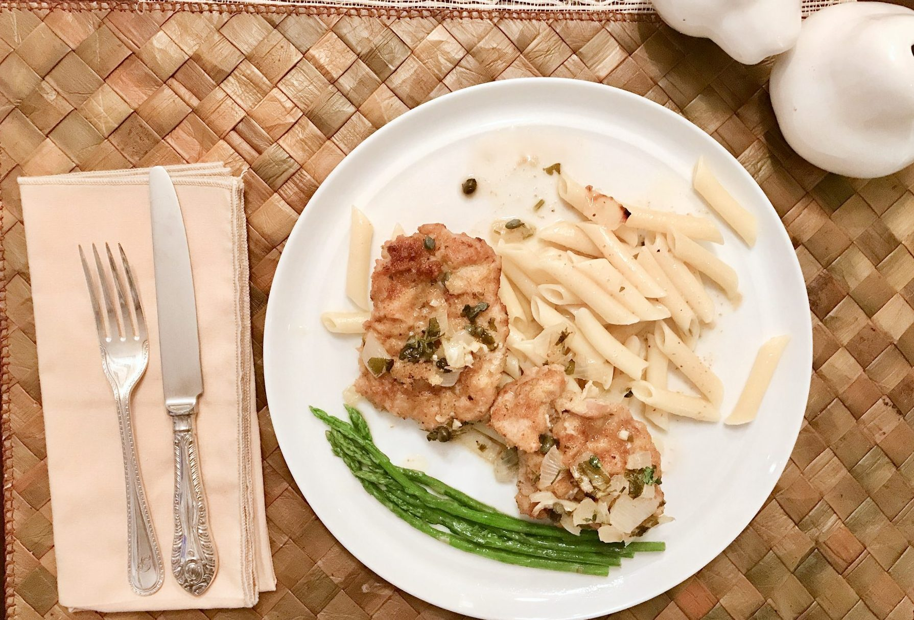 chicken piccata ready to serve