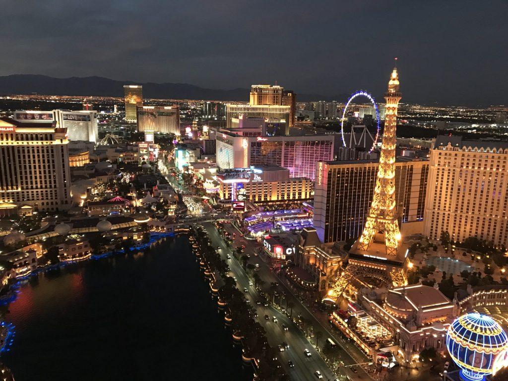 view Las Vegas strip at night