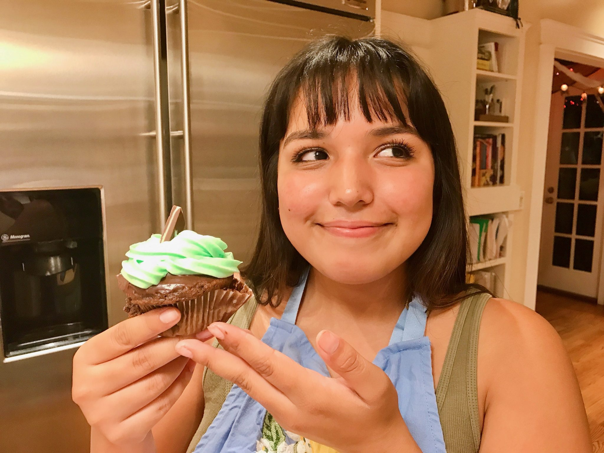 home chef with chocolate mint cupcake