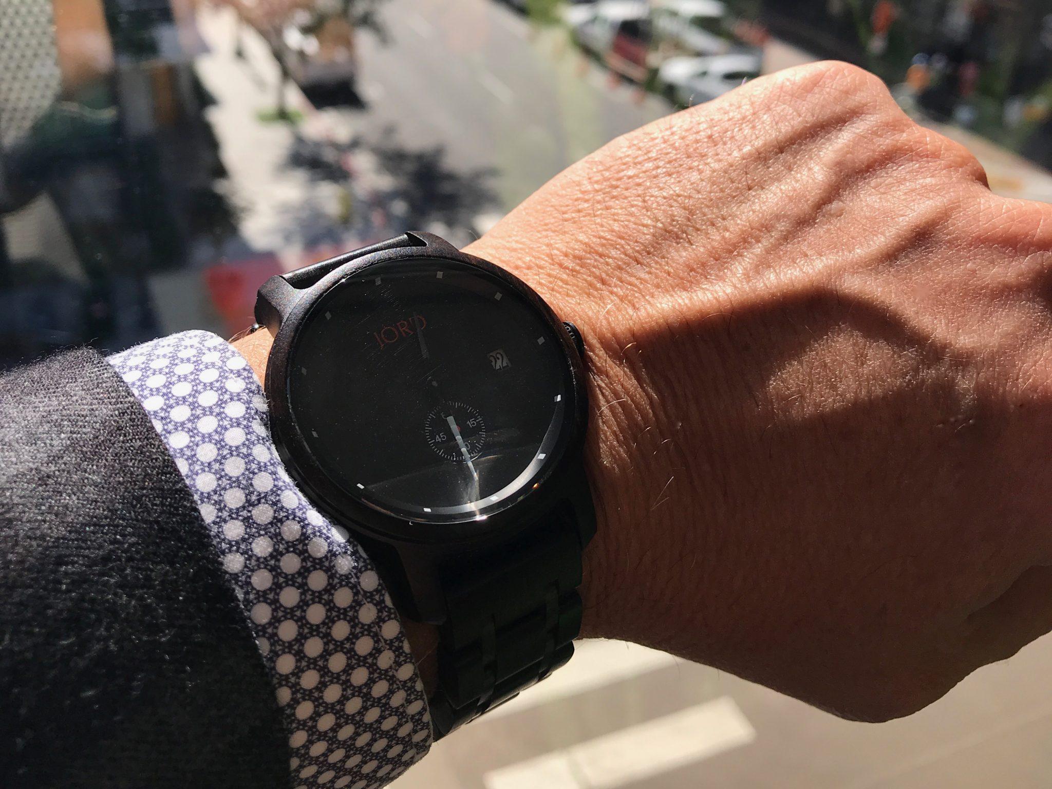 JORD ebony wood watch at work