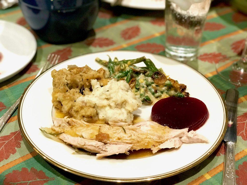 Thanksgiving dinner on plate