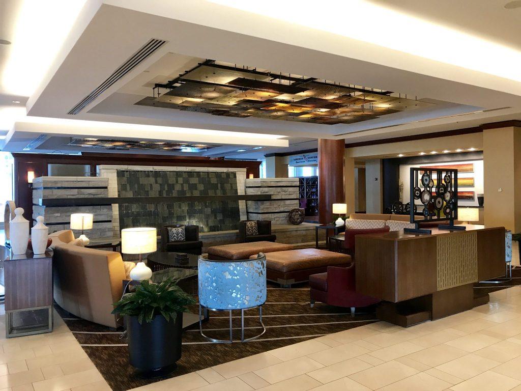 seating areas Hilton Omaha hotel lobby