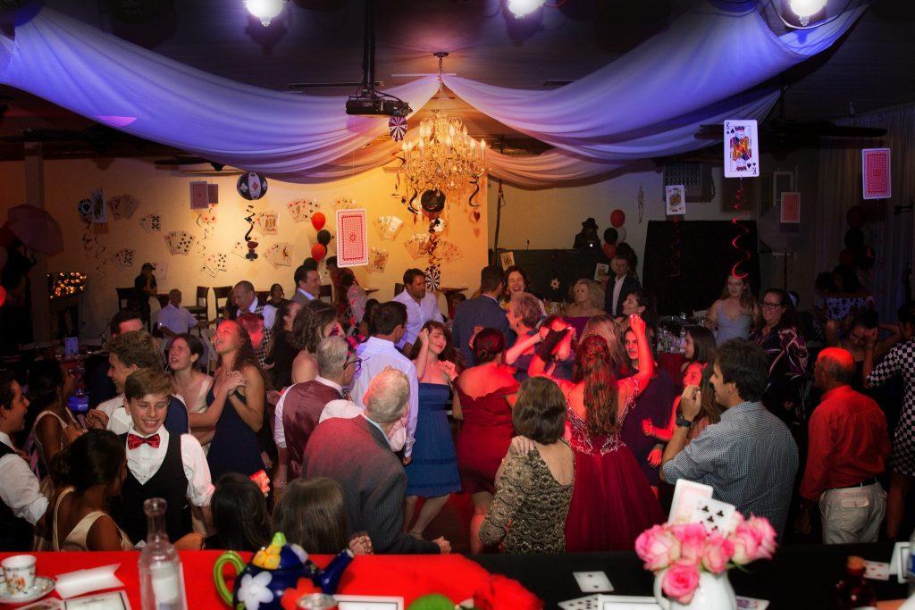 dancing crowd at Quinceañera party
