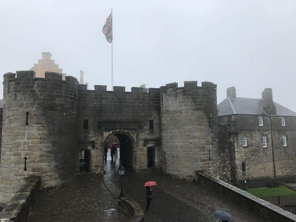 Stirling Castle entrance in the rain