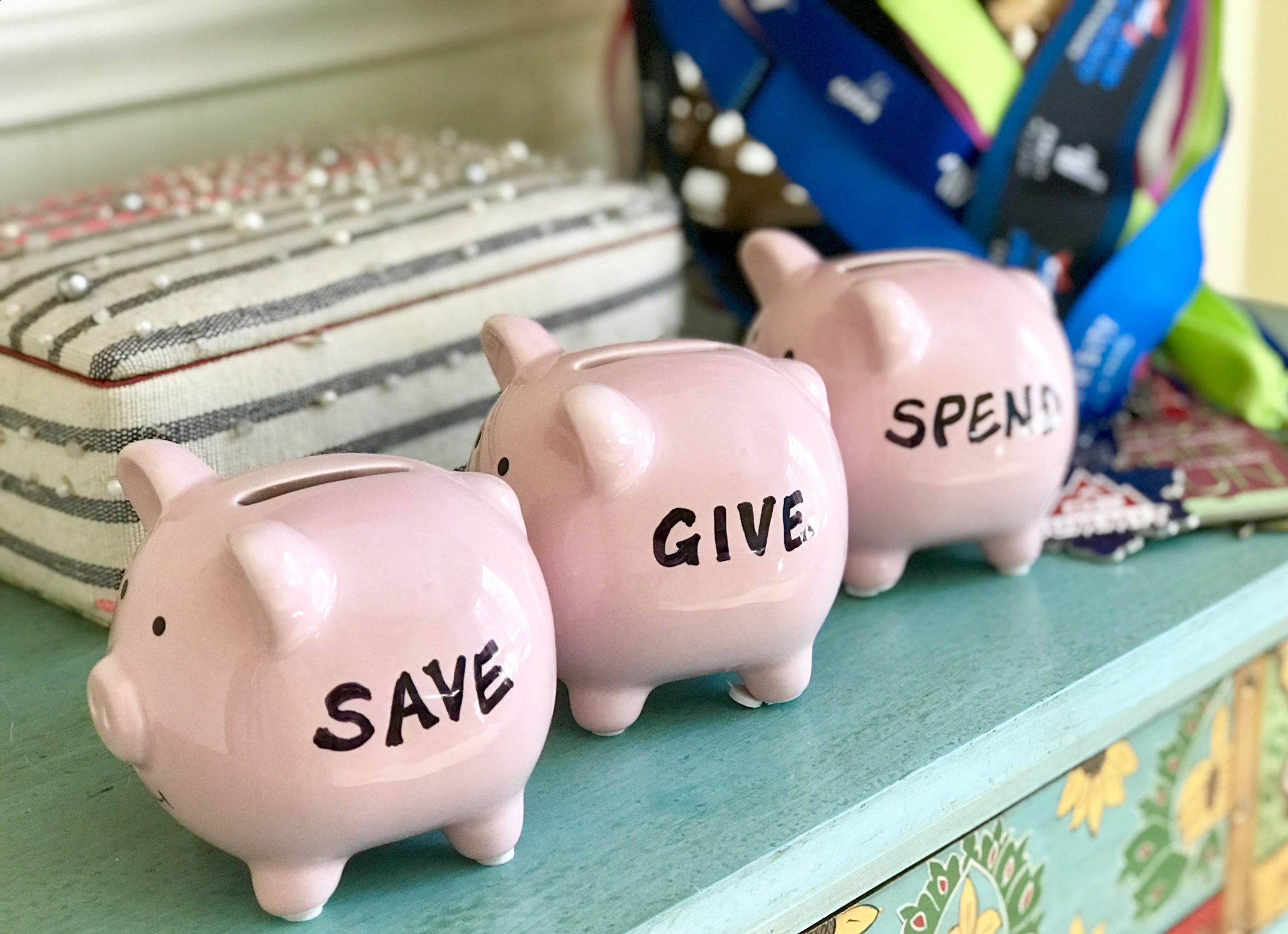 Save Spend and Give piggy banks