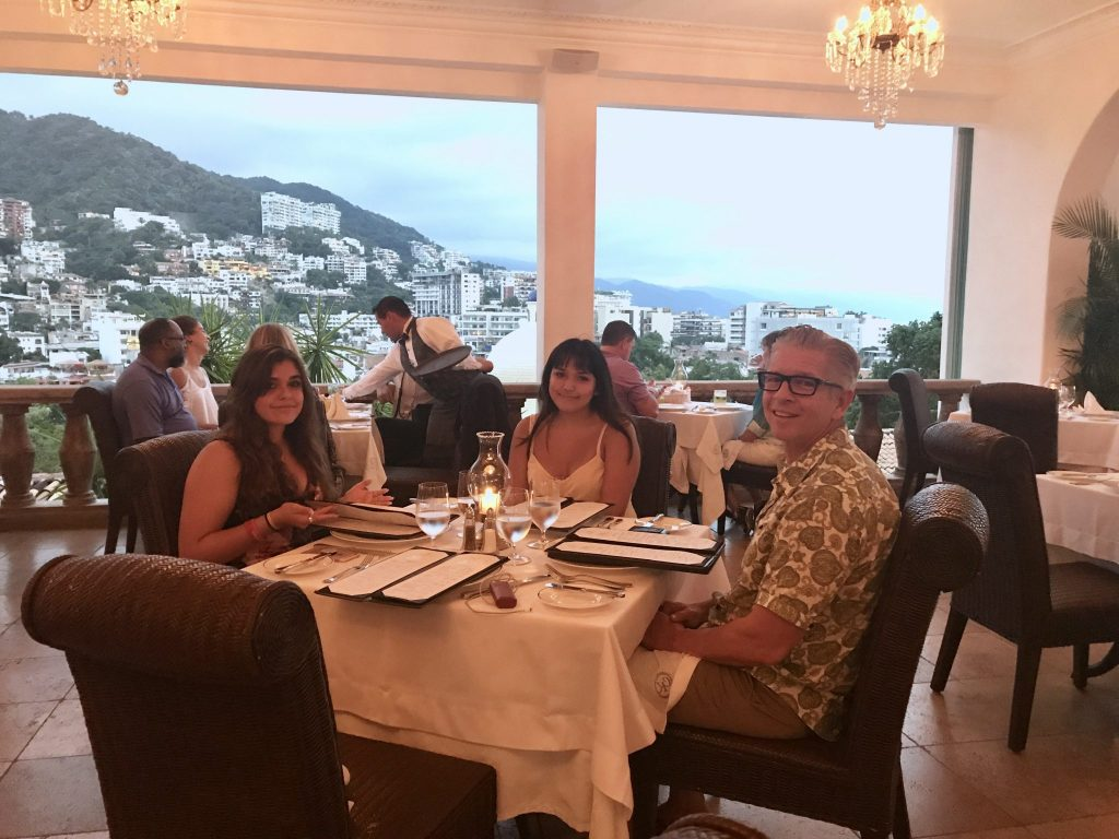 family dinner at Iguana Restaurant Casa Kimberly Puerto Vallarta