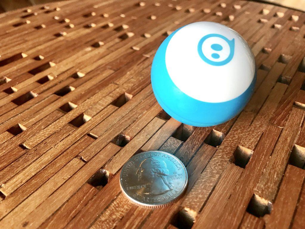 Sphero Mini size with quarter