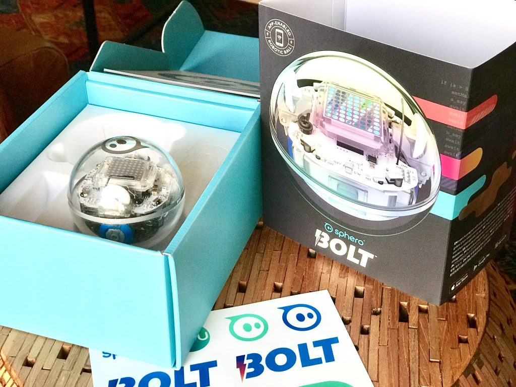 unboxed Sphero BOLT with packaging