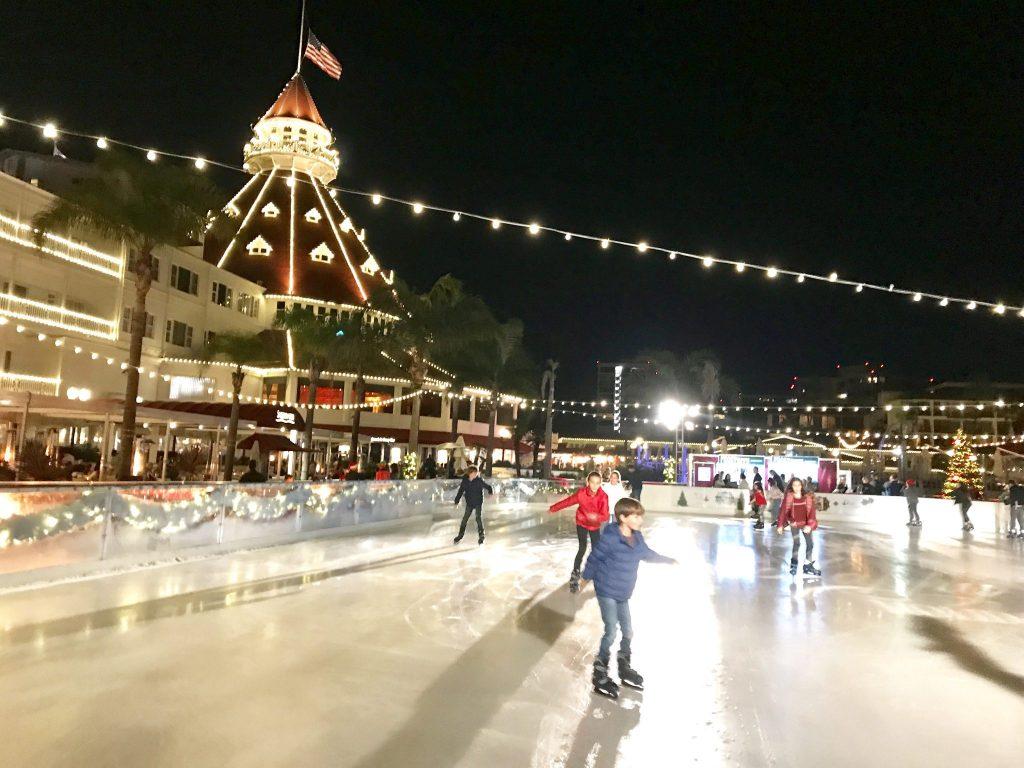 ice skating by the sea at the Hotel Del Coronado