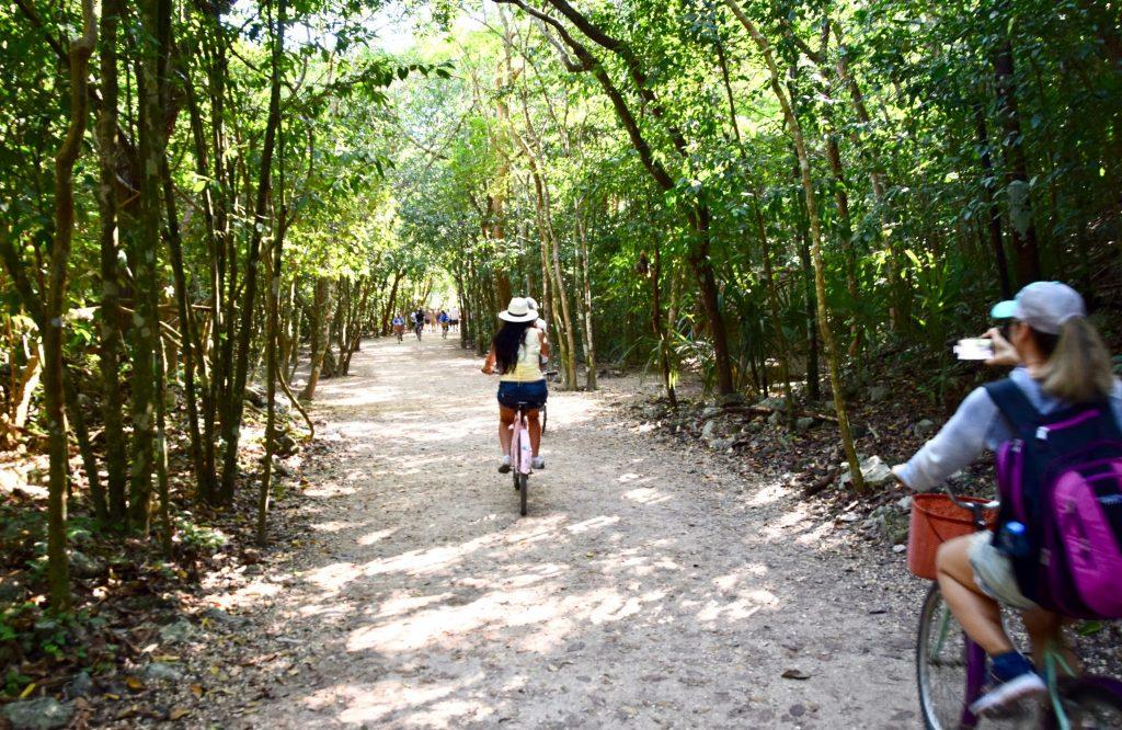 bicycle ride through jungles of Coba Mayan ruins