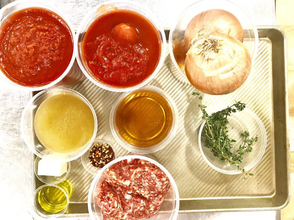 Sur la Table Cooking school ingredients