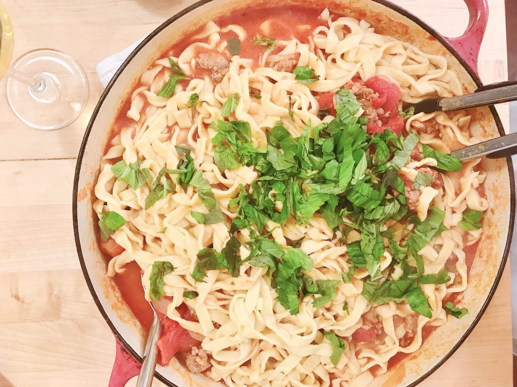 Fettuccine with Tuscan Sausage and Caramelized Onion Ragu