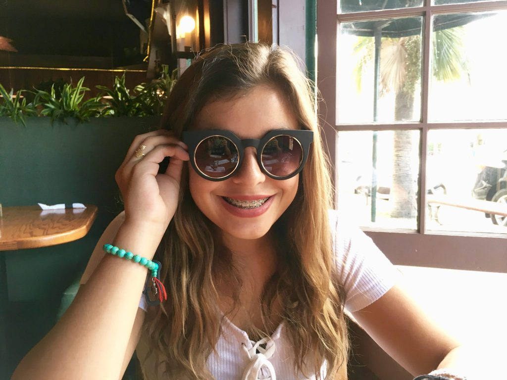 girl with stylish sunglasses La Jolla