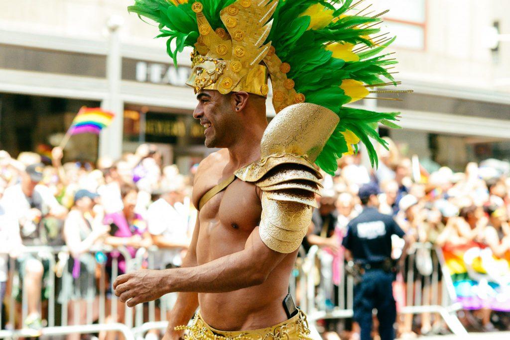 festive man in NYC Pride Parade