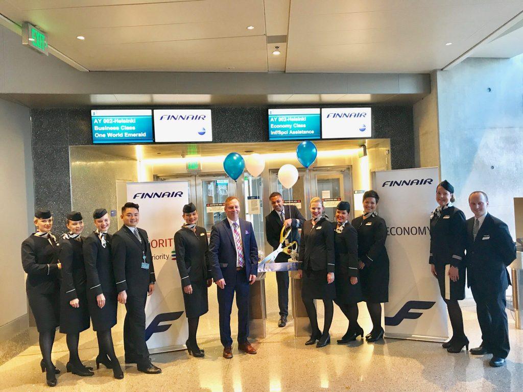 Finnair flight crew inaugural LAX