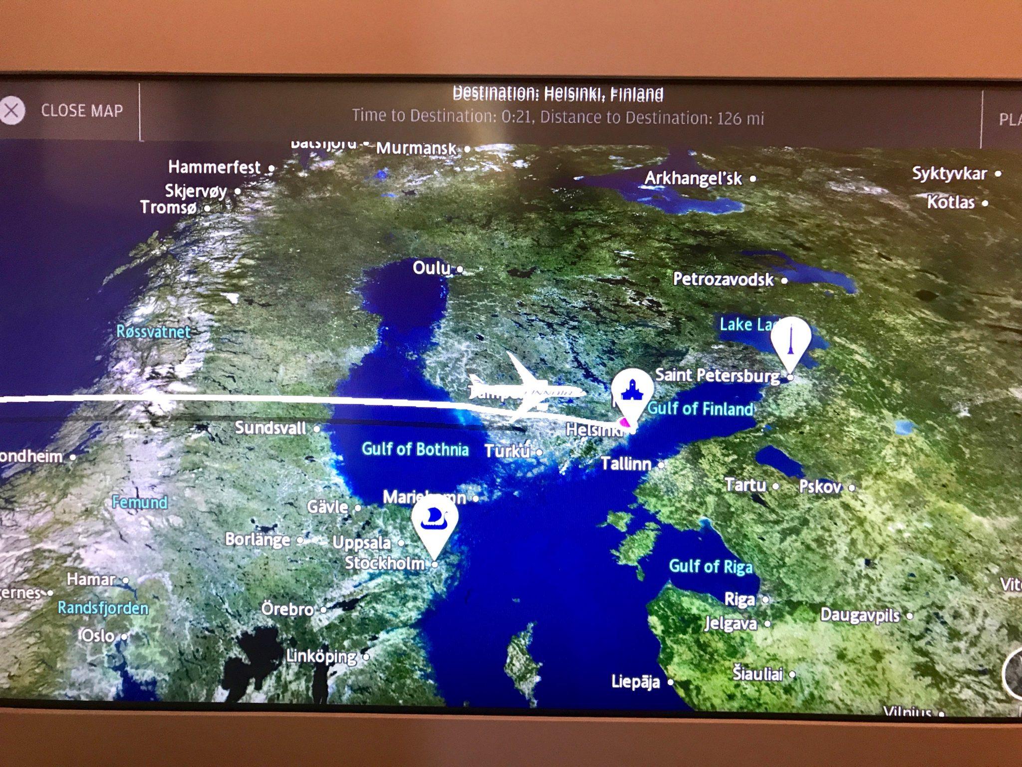 Finnair flight map LAX to Helsinki
