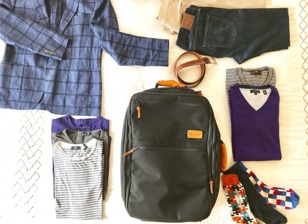 flat lay Standard Luggage Carry-on Backpack
