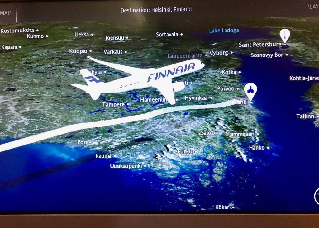 Finnair inflight map to Helsinki