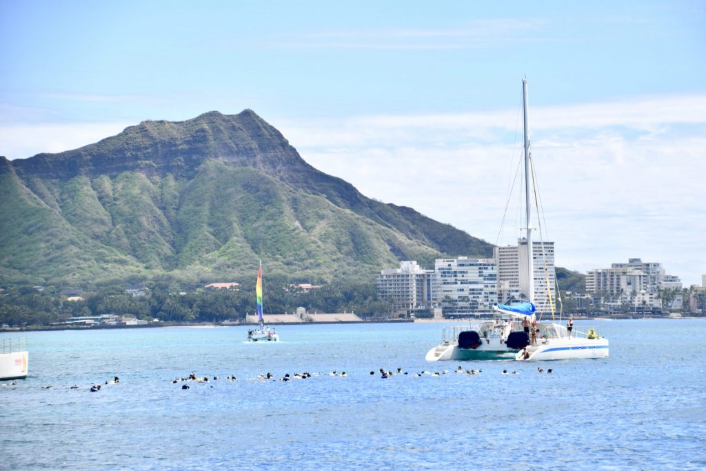 snorkeling at Waikiki with Diamond Head