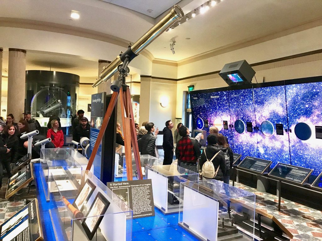 Griffith Observatory interior with telescope