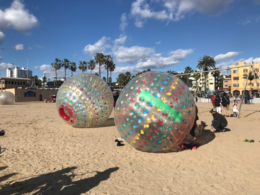 rolling human hamster balls at Santa Monica