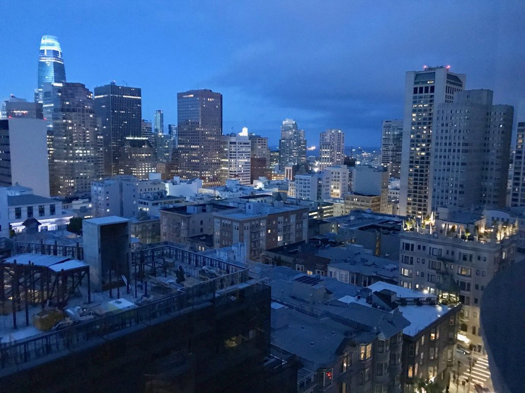 Night falls over downtown San Francisco view from Nob Hill