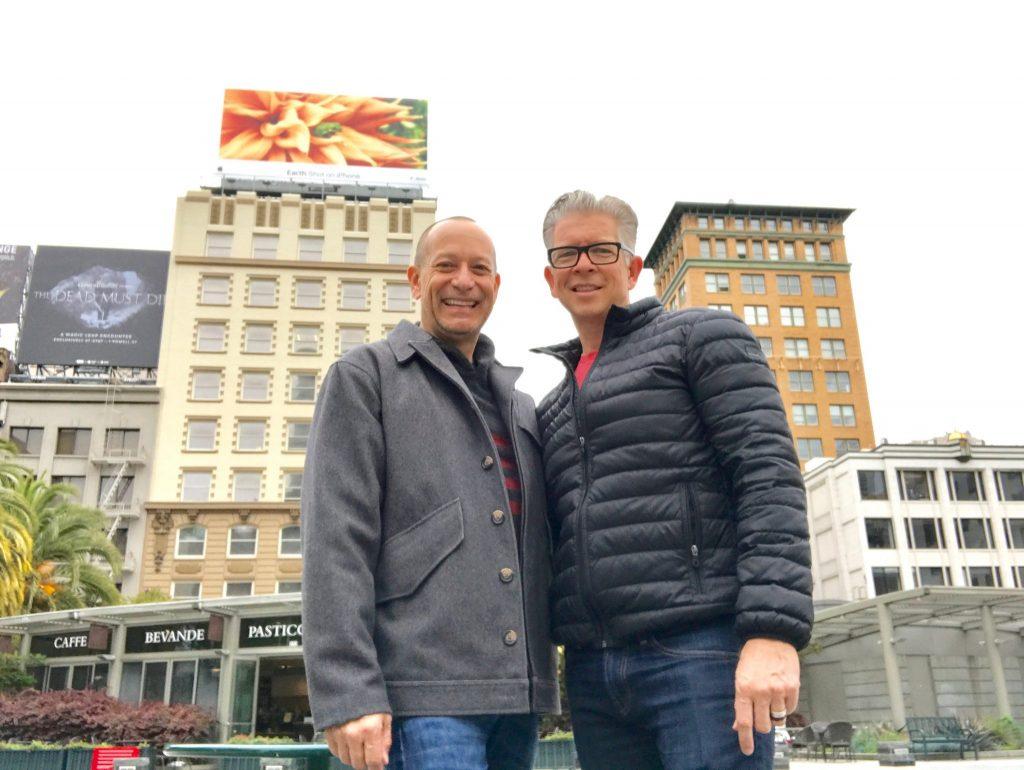 mature male couple in Union Square San Francisco