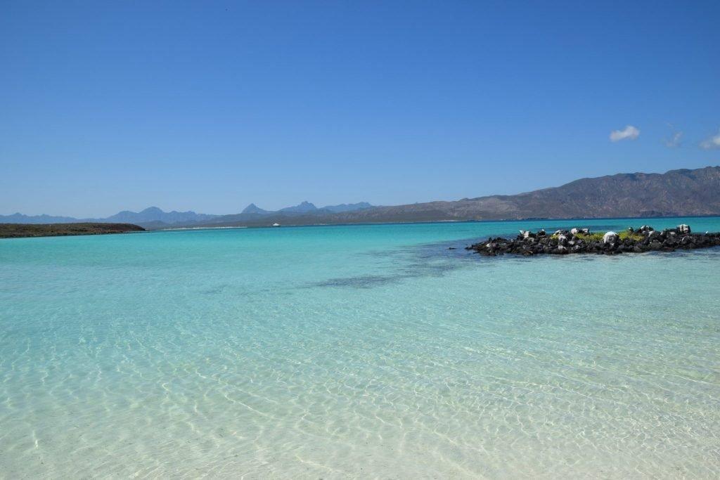The warm waters and white sands of Isla Coronado in the Sea of Cortez off Loreto, Mexico