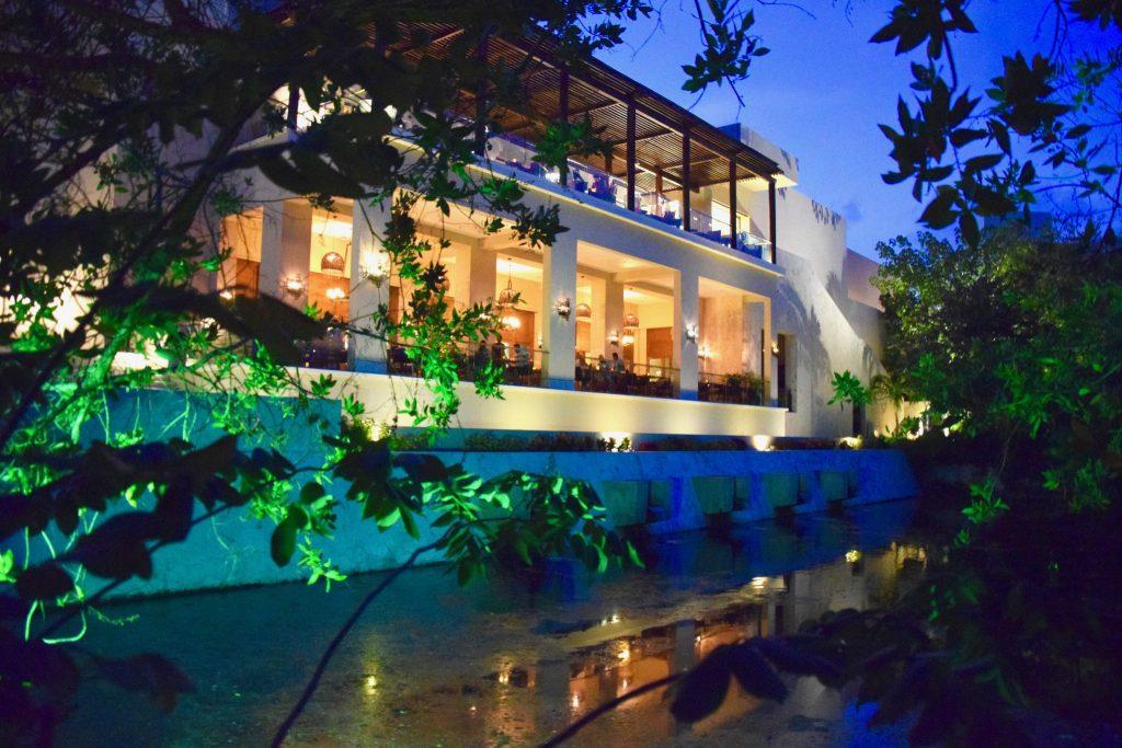 night view of main building at Fairmont Mayakoba Resort in Playa del Carmen Mexico
