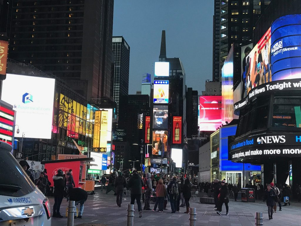 colorful lights of Time Square, New York City
