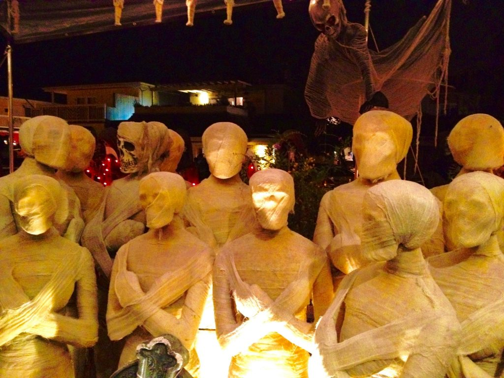 group of mummy skeletons at Halloween
