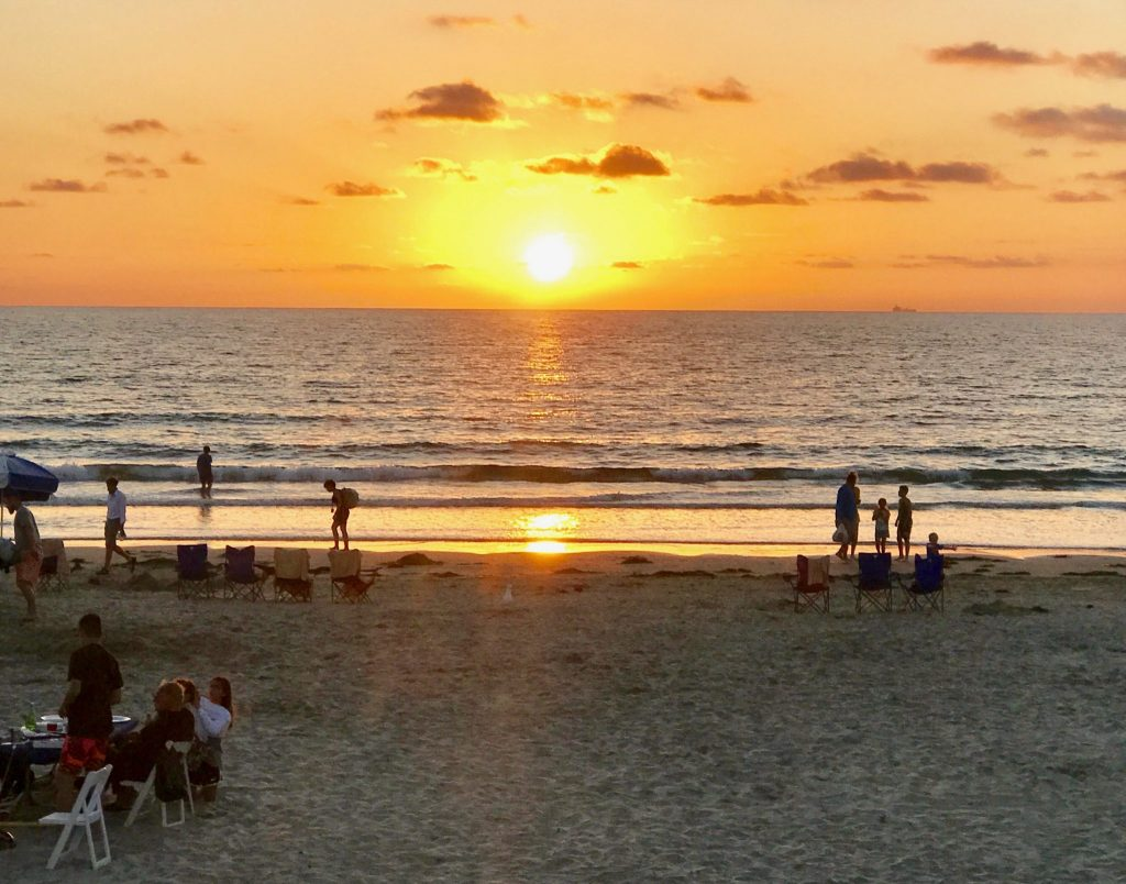 sunset over La Jolla Shores Beach, San Diego, California