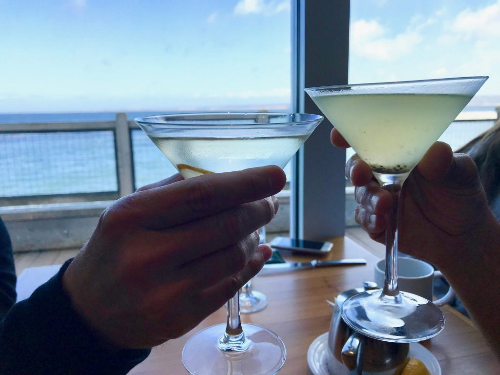 toasting martinis at The C restaurant at Cannery Row
