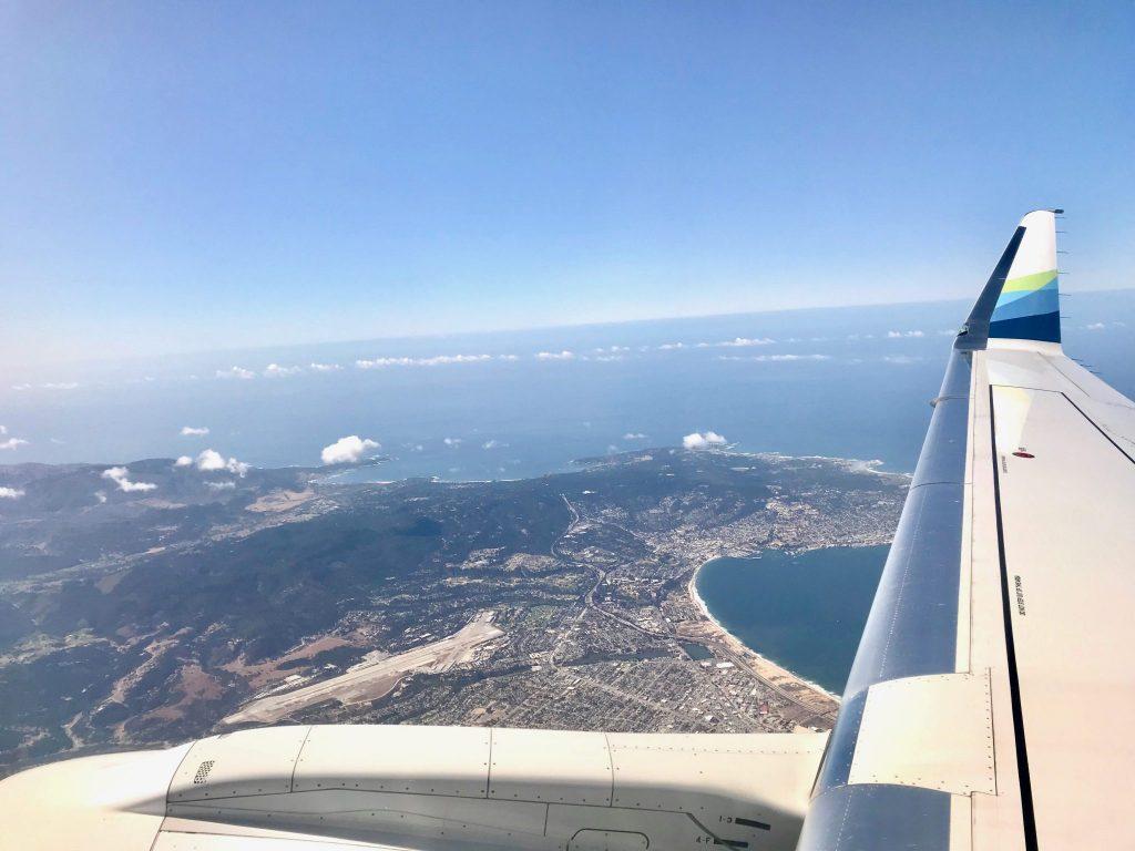 Alaska Air wing shot over Monterey Bay, California